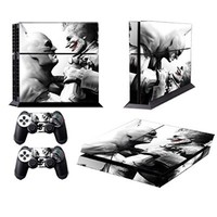 258stickers® Playstation 4 Console Skin & Remote Controllers Skin - The Man Who Laughs Joker Super Villain Face to Face with Arkham City Heros - The Joker Smile Clown Prince of Crime
