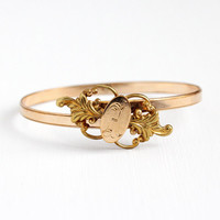 Antique Bypass Bracelet - Victorian Era 10k Rosy Yellow Gold Filled Letter A Bypass Bangle - Vintage Expanding Swivel Initial S & W Jewelry