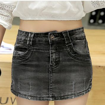 Skort High Waist Shorts Skirt Women 2018 Autumn Winter Mini Denim Shorts Jeans HotPants Skirt-shorts Bermudas Blue Streetwear
