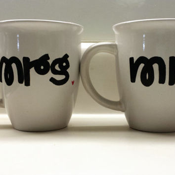Mr. and Mrs. Hand Painted Mug Set 14 oz