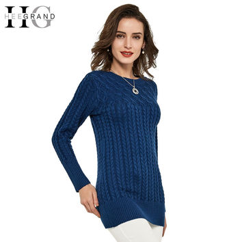 HEE GRAND Thick Slim Long Geometric Women Sweater   Casual Winter Autumn Pullover O-Neck Elegant Pull Femme  WZL740