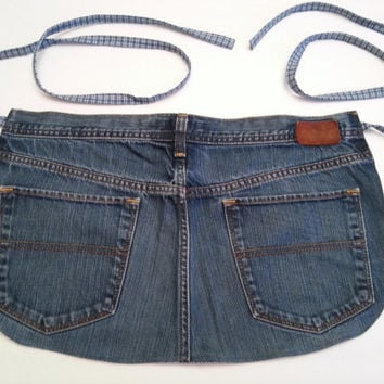 Upcycled Denim Apron / Denim Bar Apron / Short Denim Apron