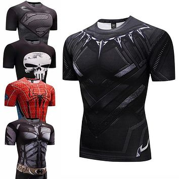 black panther Fitness Bodybuilding Compression Shirt Men Anime Rashgarda rashguard MMA 3D Superman Punisher T Shirt Crossfit