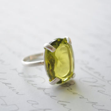 Green Tea- Sterling silver Olivine Crystal Ring- Prong setting ring