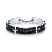 Tiffany & Co. -  Tiffany 1837™ link bracelet of sterling silver and titanium in Midnight.