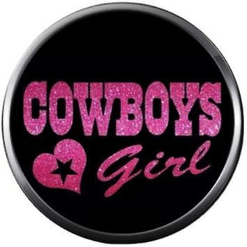 NFL Logo Dallas Cowboys Girl Pink Texas Football Fan Team Spirit 18MM - 20MM Snap Charm