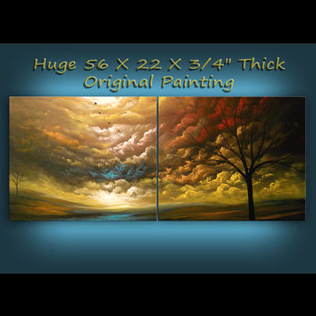 art painting abstract landscape tree painting original ART painting 56 x 22 Mattsart