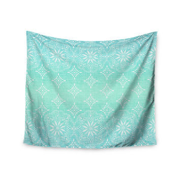 "Suzie Tremel ""Medallion Aqua Ombre"" Blue Teal Wall Tapestry"