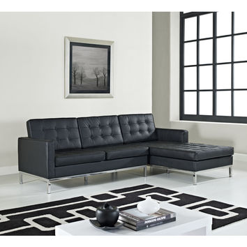 Loft Left-Arm Corner Sectional Leather Sofa - Black