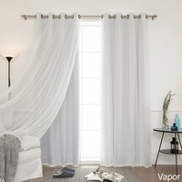 Aurora Home MIX & MATCH CURTAINS Blackout Tulle Lace Sheer Bronze Grommet 4-piece Curtain Panel Pair   Overstock.com Shopping - The Best Deals on Curtains