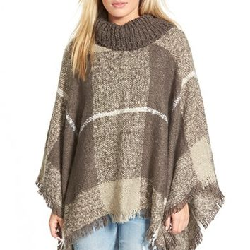 Junior Women's Woven Heart Cowl Neck Poncho - Brown