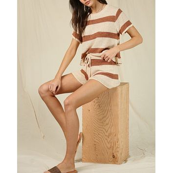 Stripe Knit Top in Camel Ivory