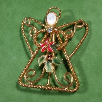 Vintage Christmas Holiday Pin Christmas Angel Gold with Mother of Pearl Face Holding Poinsettia Holly Leaves Berries Touch of the Holiday