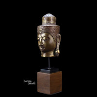 "Khmer Buddha 10.5""Head Sculpture Fine Buddhist Statue On Wooden Stand;Brass Buddha,Enlightenment,Peaceful,Serene,Zen,Meditation Home Decor"