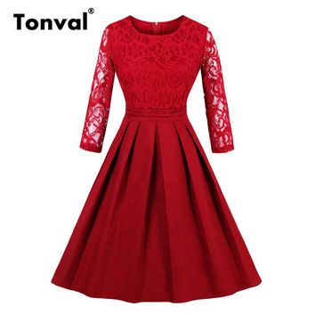 Tonval Luxurious Vintage Style Floral Lace Dress Elegant Women Formal Evening Party Dresses Ladies Red Pleated Dress