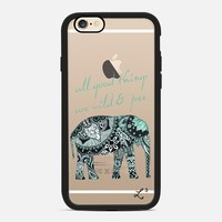 Elephant Geometric Print Wild & Free - Teal & White iPhone 6s case by Love Lunch Liftoff | Casetify