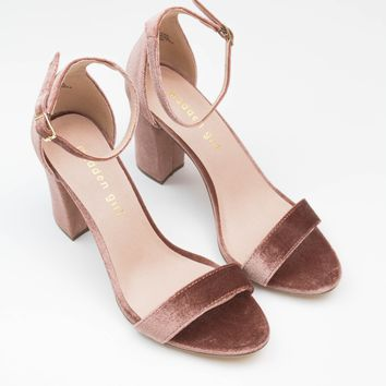 Bella Block Heel - Blush Velvet - Madden Girl
