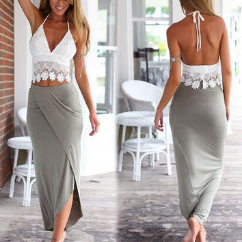 Women Lace Tank Top and Chiffon Skirt 2 Pieces