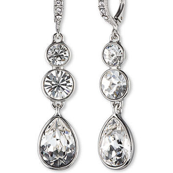 Givenchy Silver-Tone Triple Crystal Drop Earrings