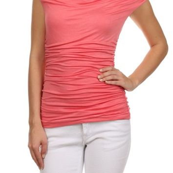Career Solid Color Ruched Cowl Neck Cap Sleeve Jersey Shirt Blouse Top