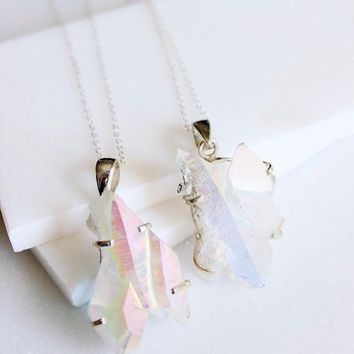 Sterling Silver Angel Aura Quartz Cluster Necklace