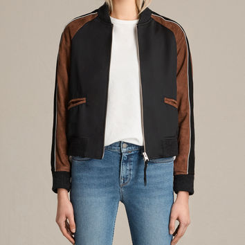ALLSAINTS UK: Womens Atley Bomber Jacket (BLACK/RUST RED)