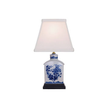 """Blue and White Floral Porcelain Tea Caddy Table Lamp 13"""""""