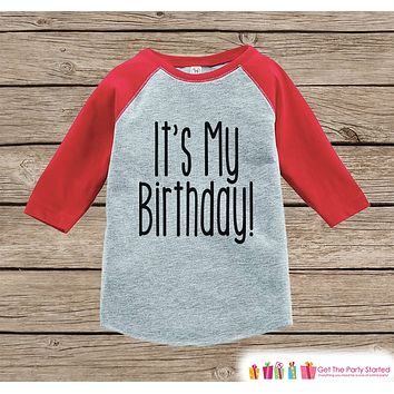 Kids Birthday Shirt - It's My Birthday Shirt or Onepiece - Baby Boy or Girl, Youth, Toddler, Birthday Outfit - Red Baseball Tee