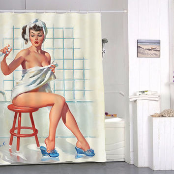 Sexy Retro Vintage Pin Up Girl special custom shower curtains that will make your bathroom adorable