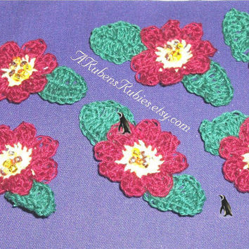 Crocheted Beaded 8 petal flower aappliques 12 available