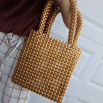 Golden Beaded Top Handle Purse