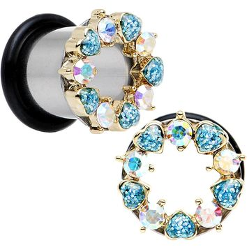 00 Gauge Aurora and Aqua Gem Heart Wreath Single Flare Tunnel Plug Set