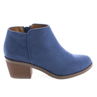 MugIIS Blue F-Suede by Soda, Blue Suede Children / Girl Zip Up Mid Heel Ankle Boots