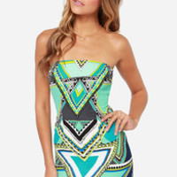 Draw a Crowd Blue Print Strapless Dress