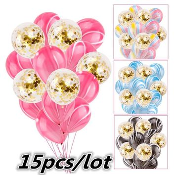 15pcs/lot Festival Balloons 10pcs Multicolor Marble Agate Balloon + 5pcs Gold Confetti Ballon for Wedding / Birthday Party Toy B
