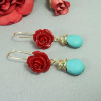 Red rose long dangle earrings with wire wrapped turquenite/ turquoise blue howlite and red flower