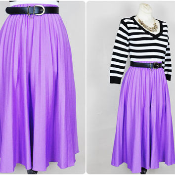 hyacinth lavender purple pleated boho high waist knit a-line midi skirt vintage 1970s