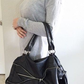 Edgy Black Extra Large Zipper Detail Purse (Small/Indie Brands)