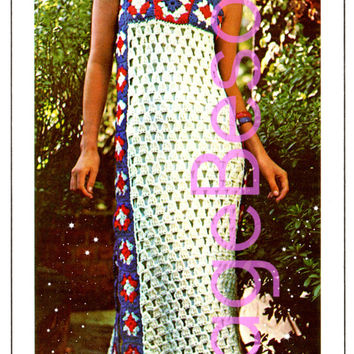 EASY Dress Crochet PATTERN Vintage 1970s Granny Square Gown Crochet Pattern Ladies Patio Summer Wear Maxi Dress Instant Download PDF