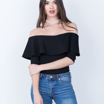 Draped Off-the-Shoulder Bodysuit
