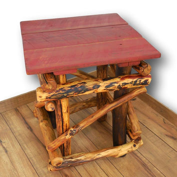Side Table, Rustic Home Decor, Reclaimed Wood Table, Rustic Table, Barnwood Table, Driftwood Table, Recycled, Woodworking, Red Table, Woodzy