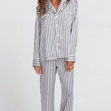 Paige PJ Set With Eye Mask ~ Mini Bar Stripe