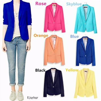 Hot Sale! Fashion Jacket Blazer Women Suit Foldable Long Sleeves Lapel Coat Lined With Striped Single Button Vogue Blazers XL