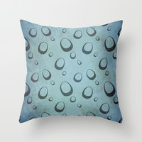 Messy Blue Eggs Throw Pillow by RunnyCustard Illustration