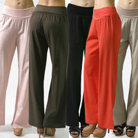 Career Comfy Banded Waist Fold Over Linen Solid Palazzo Wide Leg Pant Trouser