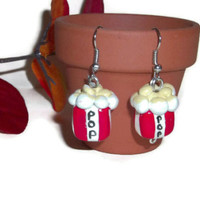 Popcorn Earrings, Polymer Clay Charms, Popcorn jewelry, Food Jewelry,