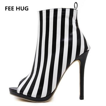 2017 Women High Heels Sandals Woman's White Black Ankle Strap Gladiator Boots Sandals Thin Heels Peep Toe Pumps Women Shoes 40