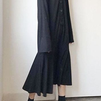 Black Widow Fishtail Intellectual Goth Loose Long Sleeve Long Dress
