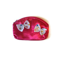 Bright Pink Womens Coin Purse Cosmetic Bag Zipper Pouch with Multicolored Felt Polka Dot Bows
