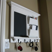 Double Mailslot Organizer with Chalkboard and Keyhook